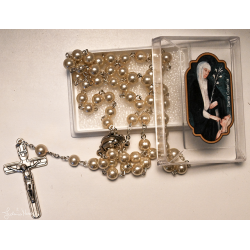 Glass rosary 8 mm with...